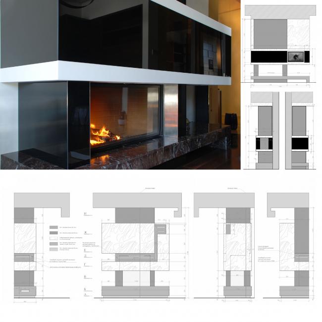 Подмосковный загородный дом. Темное стекло над камином используется в качестве медиа-экрана © Четвертое Измерение