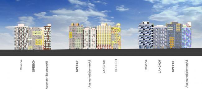 Фасады. Первая очередь жилой застройки «Микрогорода «В лесу», 2014 г. © SPEECH