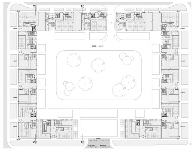План подземного этажа. Первая очередь жилой застройки «Микрогорода «В лесу», 2014 г. © SPEECH