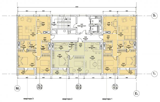 План типового блока. Первая очередь жилой застройки микрогорода «В лесу», 2014 г. © SPEECH