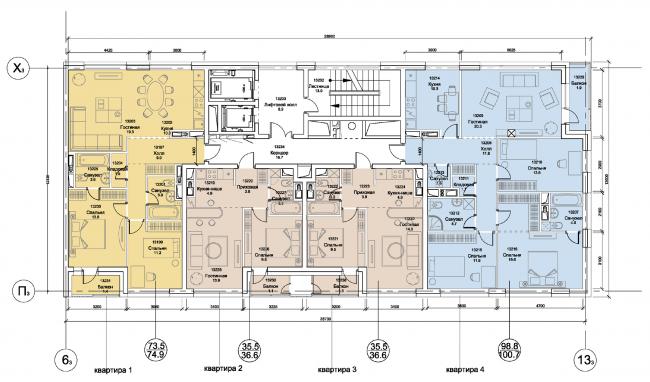 План типового блока. Первая очередь жилой застройки микрогорода «В лесу». План типового блока