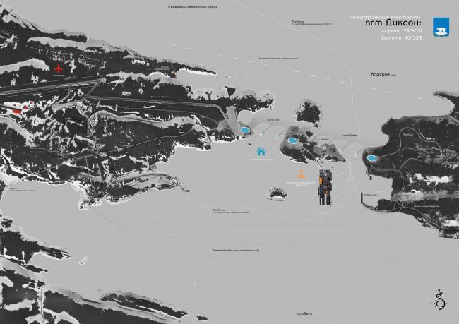 Первое место. Золотая медаль МАРХИ 2014. Николай Зайцев. Дипломный проект «Многофункциональный комплекс в порту Диксон». Генеральный план ПГТ Диксон