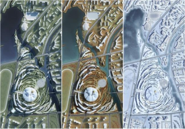 Проект комплекса «Земля Олонхо». © Фуксас + Сахапроект. Материалы предоставлены организаторами конкурса «Земля Олонхо»