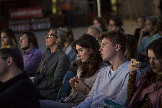 Лекция Беатрис Коломины об экспериментальной педагогике на «Стрелке». Фото: Егор Слизяк / Институт «Стрелка»