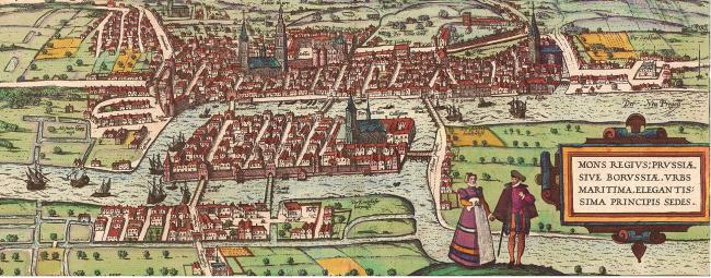 План Кёнигсберга Брауна, 1581 г.  Источник: НП Градостроительное Бюро «Сердце города», www.tuwangste.ru