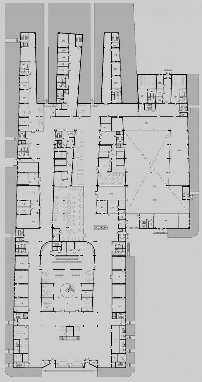 Четвертое место, Диплом 2 степени. Елизавета Лопатина. Дипломный проект «Технологический институт. Москва». План первого этажа
