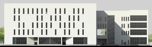 Четвертое место, Диплом 2 степени. Елизавета Лопатина. Дипломный проект «Технологический институт. Москва». Фасад со стороны пешеходной улицы