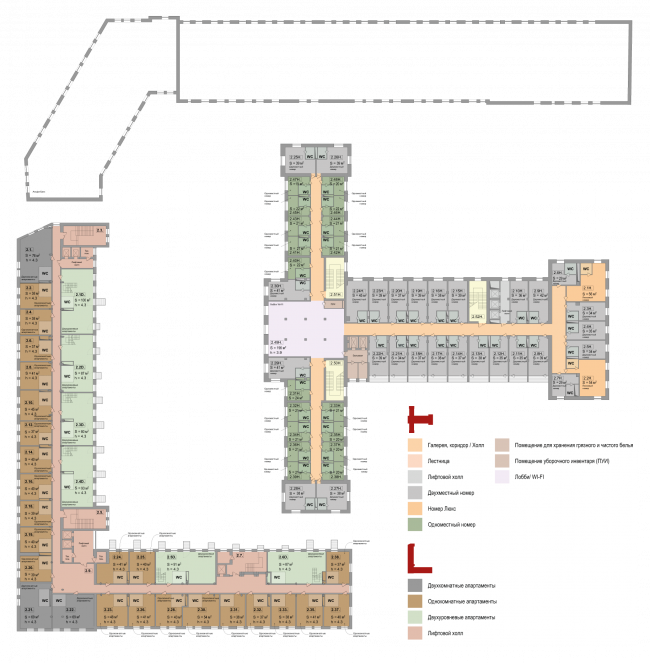 Реновация приборостроительного завода в Екатеринбурге. Первый проект. План 2 этажа. Проект, 2014 © Т+Т Architects