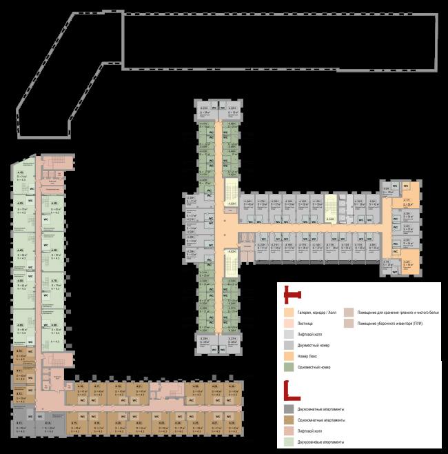 Реновация приборостроительного завода в Екатеринбурге. Первый проект. План 3 этажа. Проект, 2014 © Т+Т Architects