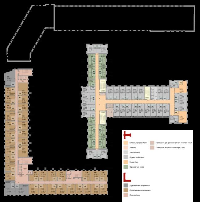 Реновация приборостроительного завода в Екатеринбурге. Первый проект. План 4 этажа. Проект, 2014 © Т+Т Architects