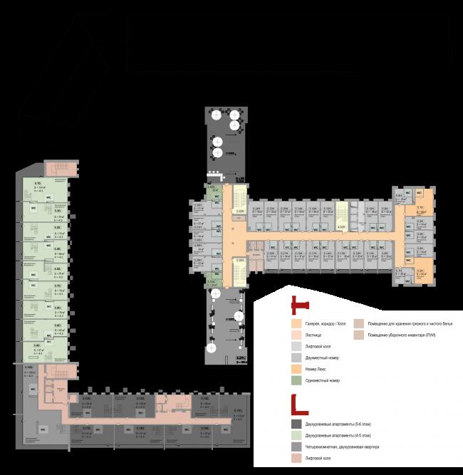 Реновация приборостроительного завода в Екатеринбурге. Первый проект. План 5 этажа. Проект, 2014 © Т+Т Architects