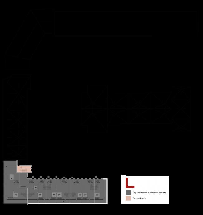Реновация приборостроительного завода в Екатеринбурге. Первый проект. План 6 этажа. Проект, 2014 © Т+Т Architects
