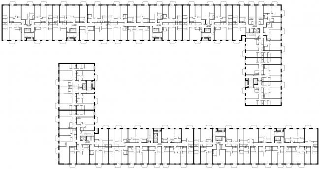 Жилой комплекс в Апрелевке. 7-й корпус. План 3-6-го этажа © АБ Остоженка