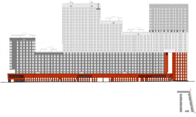 Жилой комплекс в Одинцово. Фасад, обращенный к  Вокзальной улице © АБ Остоженка