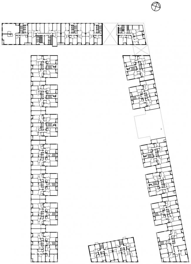 Жилой комплекс в Одинцово. План 4-7 этажей © АБ Остоженка
