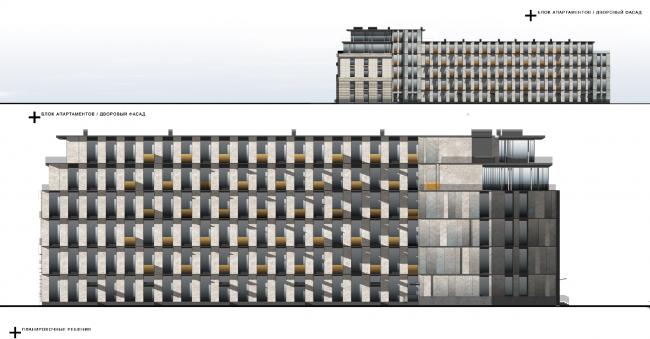 Реновация приборостроительного завода в Екатеринбурге. Первый проект. Блок апартаментов. Дворовый фасад. Проект, 2014 © Т+Т Architects