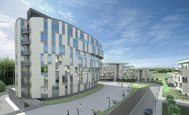 Проект района среднеэтажной жилой застройки в окрестностях Екатеринбурга © «Архитектуриум», 2014