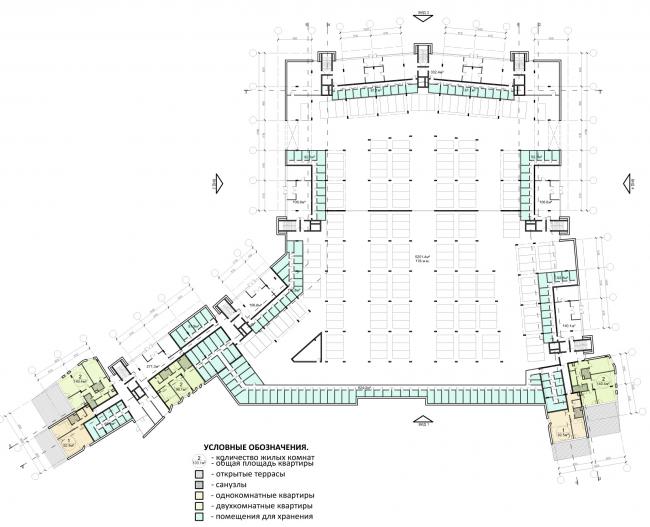 Проект района среднеэтажной жилой застройки в окрестностях Екатеринбурга. Корпус №2. План 1-го этажа © «Архитектуриум», 2014