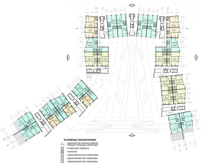 Проект района среднеэтажной жилой застройки в окрестностях Екатеринбурга. Корпус №2. План 2-го этажа © «Архитектуриум», 2014
