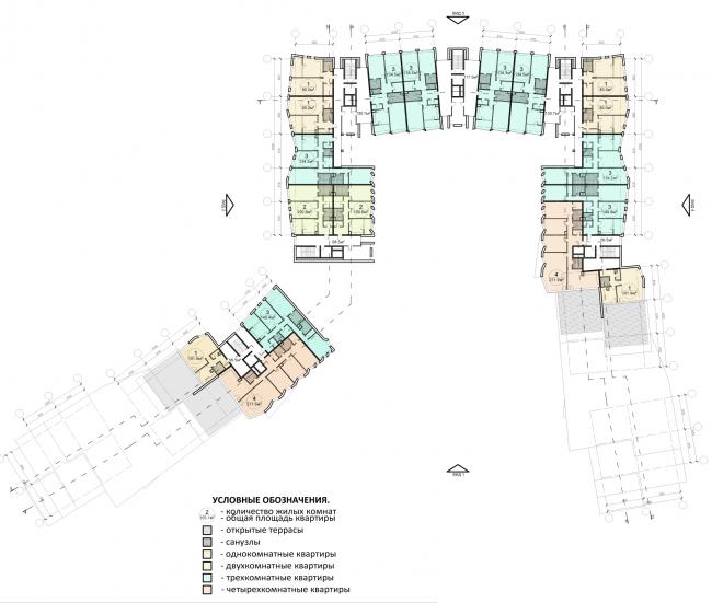 Проект района среднеэтажной жилой застройки в окрестностях Екатеринбурга. Корпус №2. План 6-го этажа © «Архитектуриум», 2014