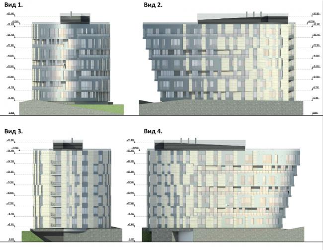 Проект района среднеэтажной жилой застройки в окрестностях Екатеринбурга. Корпус №5. Фасады © «Архитектуриум», 2014