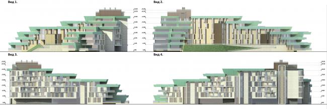 Проект района среднеэтажной жилой застройки в окрестностях Екатеринбурга. Корпус №7. Фасады © «Архитектуриум», 2014