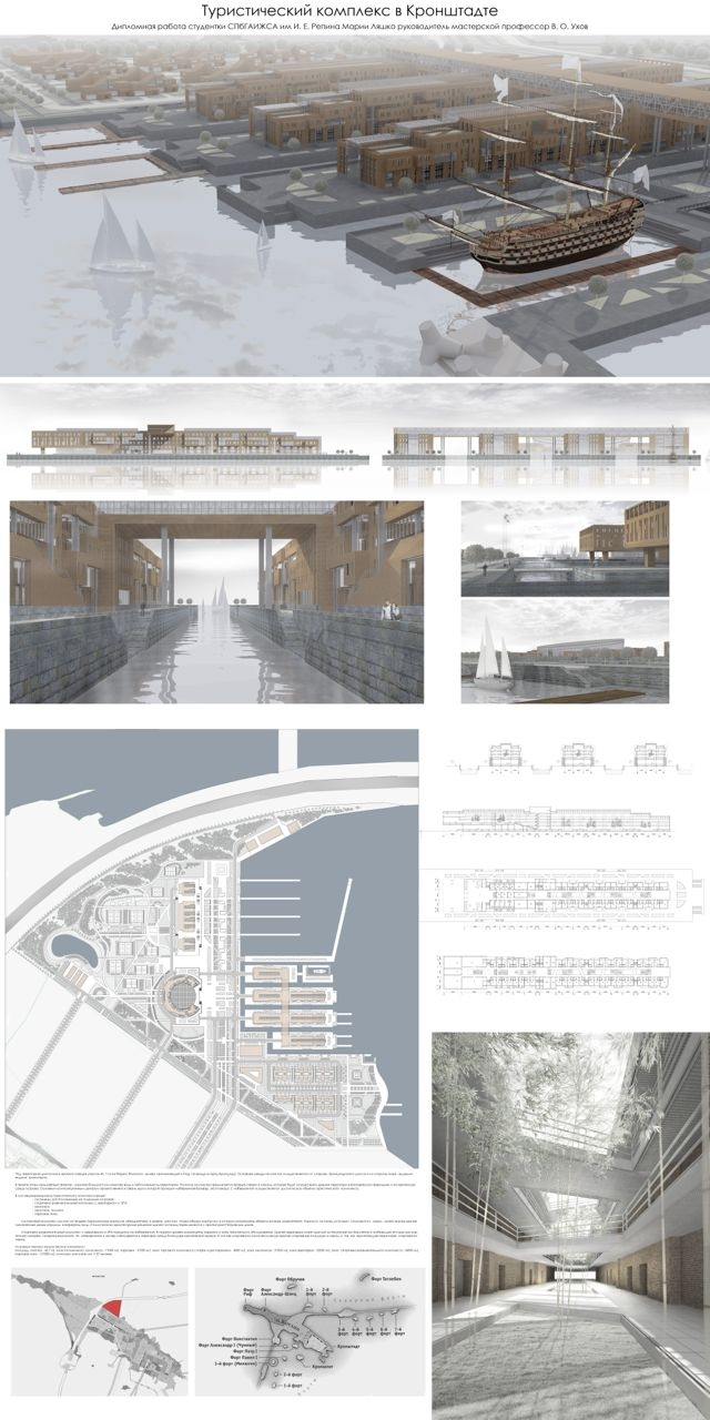 Туристический комплекс в Кронштадте, дипломная работа Марии Ляшко. Изображение предоставлено пресс-службой Союза архитекторов Санкт-Петербурга