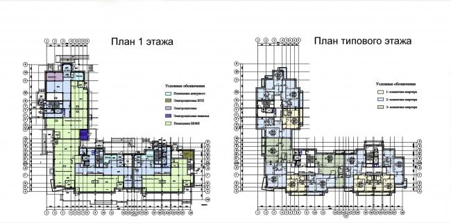 Архитектурно-градостроительные решения для строительства жилого дома в районе Бескудниково. Заказчик: компания «Главмосстрой».  Проектировщик: «Моспроект», архитектурно-проектная мастерская №3. Планы первого и типового этажей