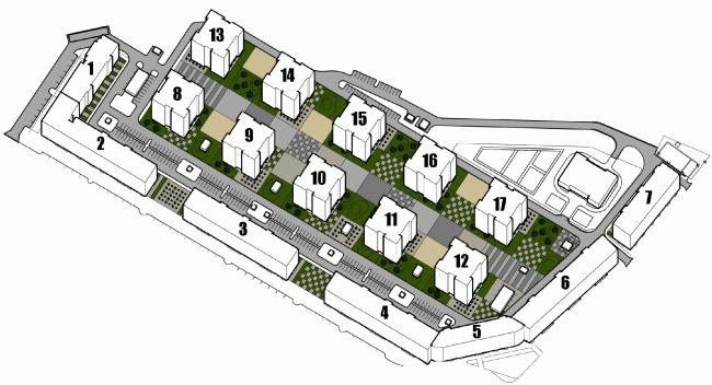 Многоквартирный жилой комплекс «Европа Сити» на проспекте Медиков. Проект, 2015. Схема застройки комплекса