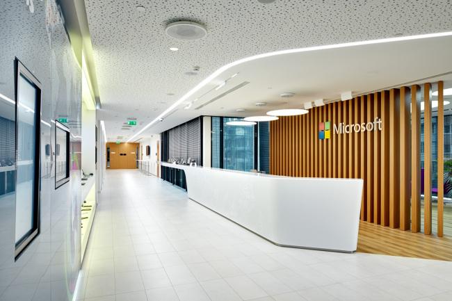 Московский технологический центр Microsoft. Зона ресепшна © UNK project
