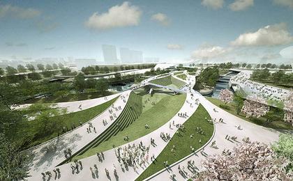 Хенеган Пенг. Пешеходный мост Олимпийского парка. Вид моста после Олимпийских Игр