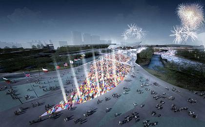 Хенеган Пенг. Пешеходный мост Олимпийского парка. Вид моста во время Олимпийских Игр