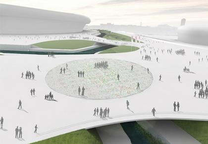 Проект Tonkin Liu - финалист. Вид моста во время Олимпийских Игр
