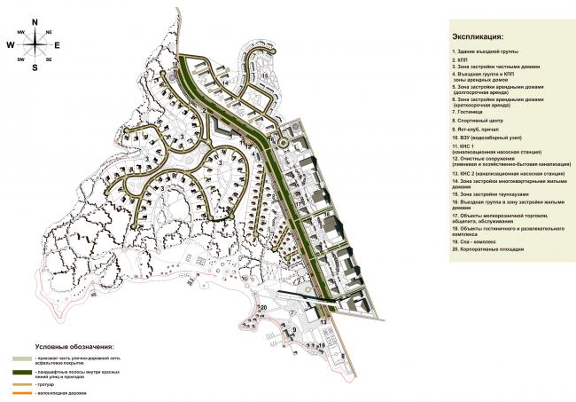 Схема организации транспорта. Архитектурно-планировочная концепция многофункциональной застройки «Парк Дуброва» © Архстройдизайн АСД