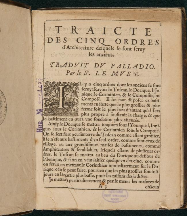 Трактат Палладио в переводе на французский язык Ле Мюэта. Фотография предоставлена музейно-выставочным центром РОСИЗО