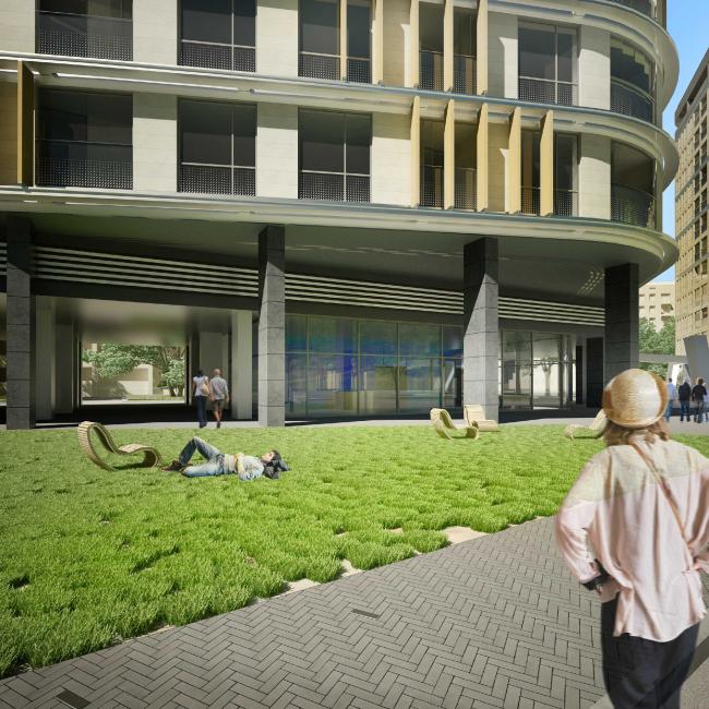 Жилой комплекс на Песчаной улице. Галерея вдоль первого нежилого этажа © Четвертое Измерение
