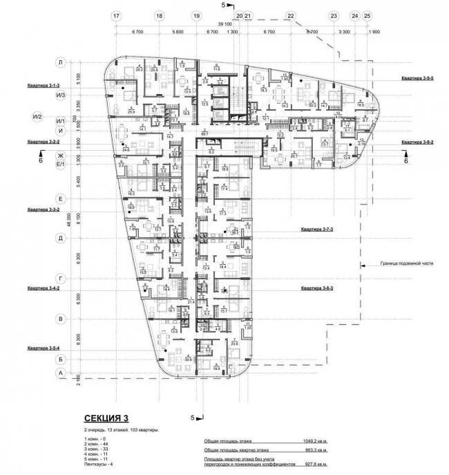 Жилой комплекс на Песчаной улице. План этажа третьего корпуса © Четвертое Измерение