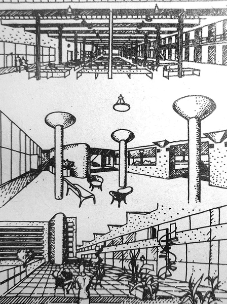 Студенческая коммуна на ул. Орджоникидзе (И. Николаев, 1929 – 1931). Чертеж И.Николаева, опубликован С.О. Хан-Магомедовым