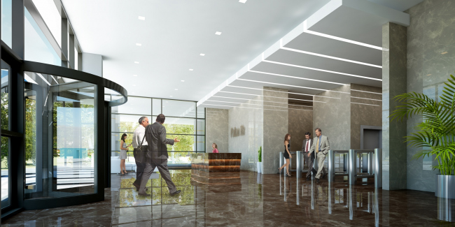Design of the interior of the entrance lobby of the minor building. Administrative and business center at the Rublev Shosse. © Sergey Kiselev and Partners