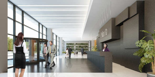 Design of the interior of the entrance lobby of the major building. Administrative and business center at the Rublev Shosse. © Sergey Kiselev and Partners
