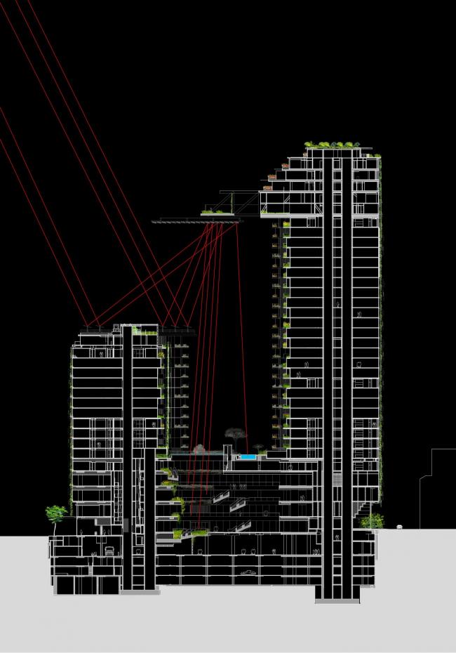 Башня One Central Park. Архитекторы Ateliers Jean Nouvel. Местные партнеры PTW Architects. Предоставлено Ateliers Jean Nouvel