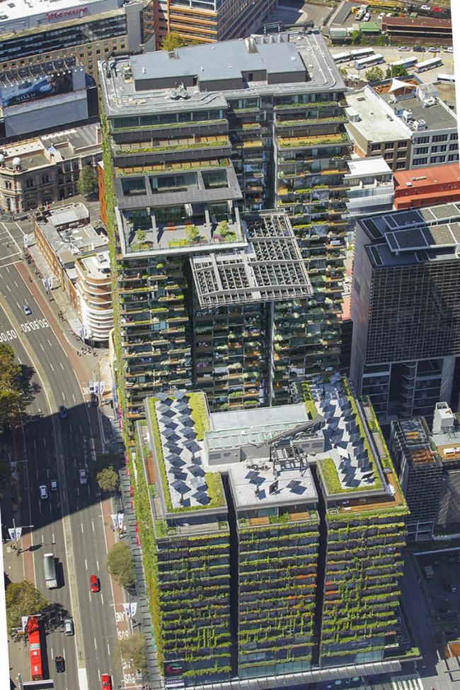 Башня One Central Park. Архитекторы Ateliers Jean Nouvel. Местные партнеры PTW Architects. Фотограф John Gollings. Предоставлено Frasers Property и Sekisui House