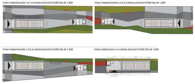 План павильонов A, B, C, D, E, F, G и схема благоустройства. Дизайн станции метро «Новопеределкино» © United Riga Architects