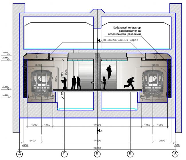Платформа. Разрез А-А. Дизайн станции метро «Новопеределкино» © United Riga Architects