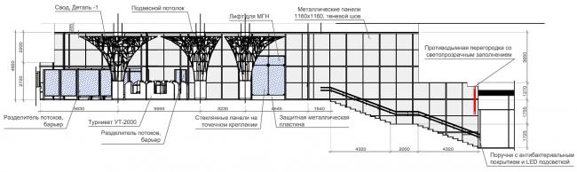 Кассовый зал №1, №2. Разрез А-А, В-В. Дизайн станции метро «Новопеределкино» © United Riga Architects