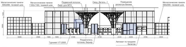 Кассовый зал №1, №2. Разрез 1-1, 2-2.  Дизайн станции метро «Новопеределкино» © United Riga Architects