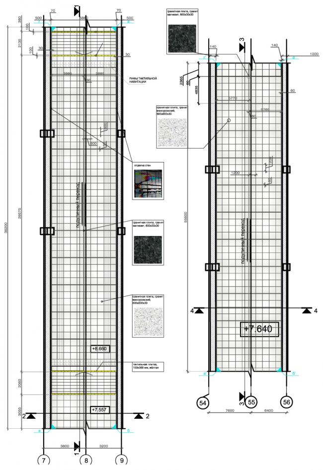 Подуличный переход №1 (слева) и №2 (справа). План пола. Дизайн станции метро «Новопеределкино» © United Riga Architects