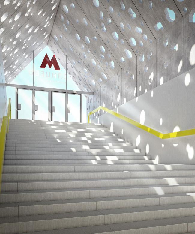 Интерьер павильона. Дизайн станции метро «Солнцево» © Nefa Architects