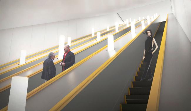 Зона эскалаторов. Дизайн станции метро «Солнцево» © Nefa Architects
