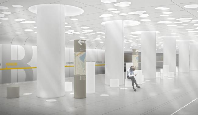 Платформа. Дизайн станции метро «Солнцево» © Nefa Architects